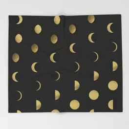 The Lunar Cycle • Phases of the Moon – Black & Gold Palette Throw Blanket