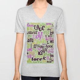 Vintage Love Words Unisex V-Neck