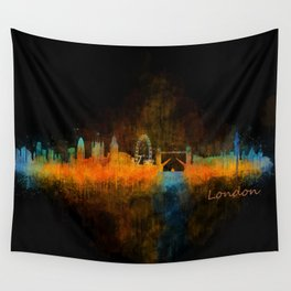 London City Skyline HQ v4 Wall Tapestry