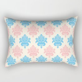 Coral blue ivory vintage chic floral damask pattern Rectangular Pillow