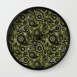 Olive Green Paisley Pattern Wall Clock