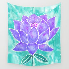 Sacred Lotus – Lavender Blossom on Mint Palette Wall Tapestry