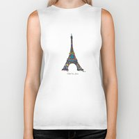eiffel tower Biker Tanks featuring eiffel tower by PINT GRAPHICS