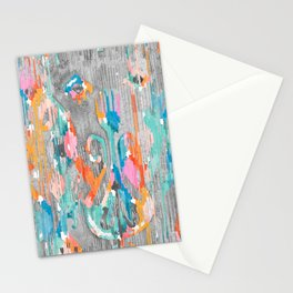 rainy day balinese ikat Stationery Cards