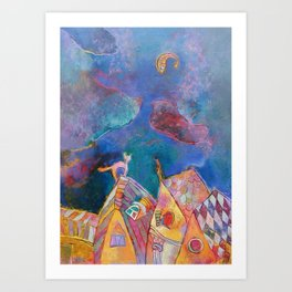 Dream of one cat Art Print