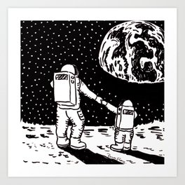 Mother and Son Astronauts Art Print