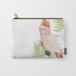 Vintage & Shabby Chic - Antique Pink Cockatoo With Tropical Flowers 1 Carry-All Pouch