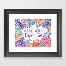Stay Wild Flower Child - Boho Hippy Florals Framed Art Print