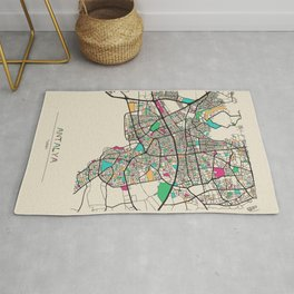 Colorful City Maps: Antalya, Turkey Rug