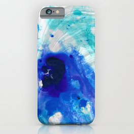 Modern Abstract Art - Blue Marble by Sharon Cummings iPhone Case