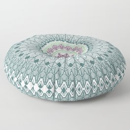 Color teal and purple feather mandala hippie boho Floor Pillow