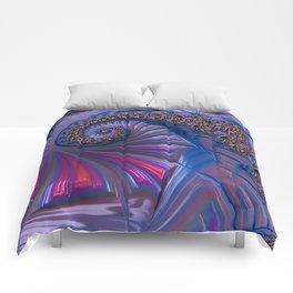 Curved Blue Fractal Comforters