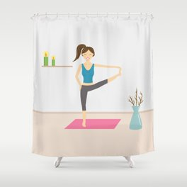 Yoga Girl In Extended Hand To Toe Pose Cartoon Illustration Shower Curtain