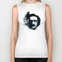 edgar allan poe Biker Tanks featuring Edgar Allan Poe Crows by Ludwig Van Bacon