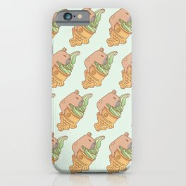 Capybara with Matcha Taiyaki Ice cream pattern in mint green  iPhone Case