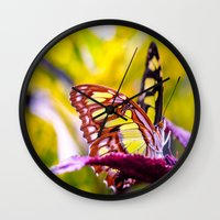 malachite Wall Clocks featuring Malachite by Cathy Donohoue