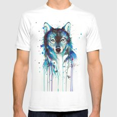 -Dark Wolf- MEDIUM White Mens Fitted Tee
