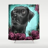 lab Shower Curtains featuring Black Lab... by Lily Fitch