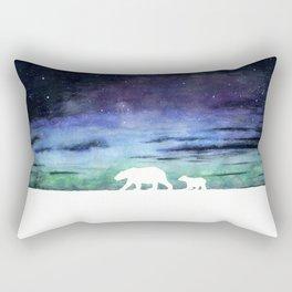 Aurora borealis and polar bears (white version) Rectangular Pillow