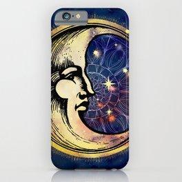 Celestial Antique Man In The Moon Watercolor Batik iPhone Case