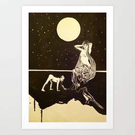 Venus in Furs and the kissing of the boot of shiny shiny leather Art Print