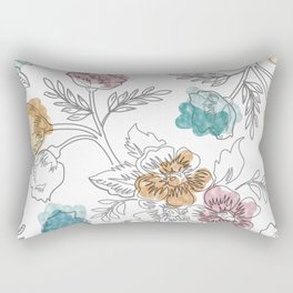 Cool Multi Color Floral Texture Rectangular Pillow