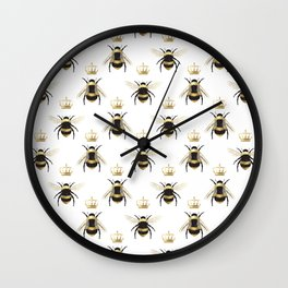 Gold Queen bee / girl power bumble bee pattern Wall Clock