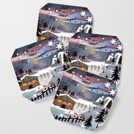 Digital illustration of Winter evening . Quilting. Patchwork . Coaster