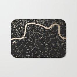 London Black on Gold Street Map II Bath Mat
