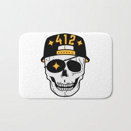 Pittsburgh 412 Skull Baseball Cap Steel City Sports Football Fan Bath Mat