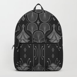 Art Deco Leaf Shapes Black Grey Backpack