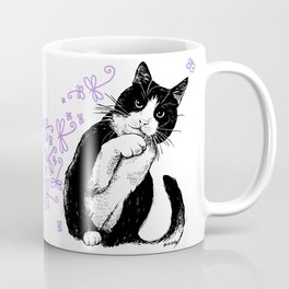 Tuxedo cat and dragonflies Coffee Mug