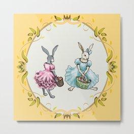 Dressed Easter Bunnies 2 Metal Print