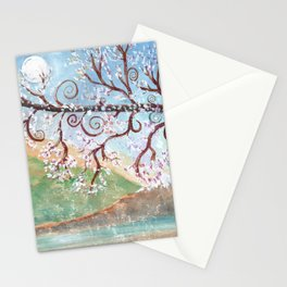 Watercolor Moonlight Illustration Stationery Cards