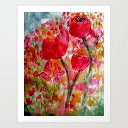 Watercolour Poppies Art Print