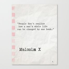 Malcolm X quote about books Canvas Print