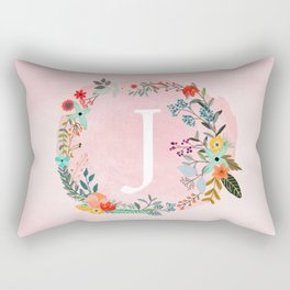Flower Wreath with Personalized Monogram Initial Letter J on Pink Watercolor Paper Texture Artwork Rectangular Pillow
