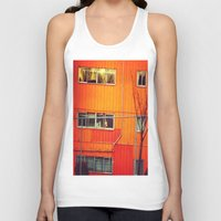 industrial Tank Tops featuring Orange Industrial by Thick Paint Works