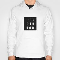moon phases Hoodies featuring Moon Phases on Black by Kate & Co.