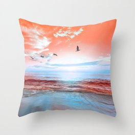 The Orange Sunrise in Sea Side Throw Pillow