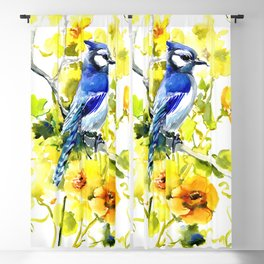 BLue Jay and Yellow Flowers Blackout Curtain