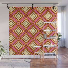 Kitschy Mid Century Pattern in Pink and Yellow Wall Mural