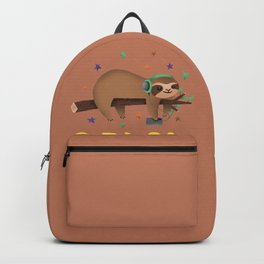 Sleepy Sloth relaxes in Tree and hears Music Design Backpack
