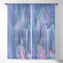 Beglitched Waterfall - Abstract Pixel Art Sheer Curtain