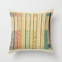 pastel Throw Pillows featuring Old Books by Cassia Beck
