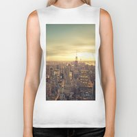 cityscape Biker Tanks featuring New York Skyline Cityscape by Vivienne Gucwa
