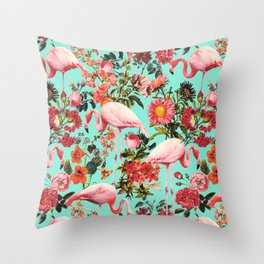 Floral and Flemingo IV Pattern Throw Pillow