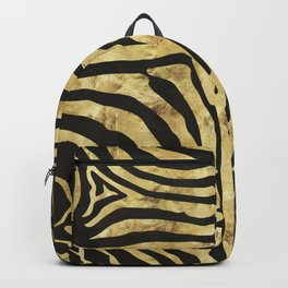 Golden zebra on black ink Backpack