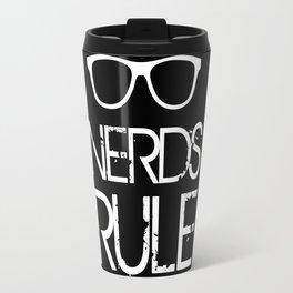 Nerds Rule Grunge Typography Travel Mug