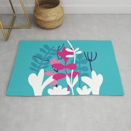 Flower Bouquet in Blue and Pink Rug